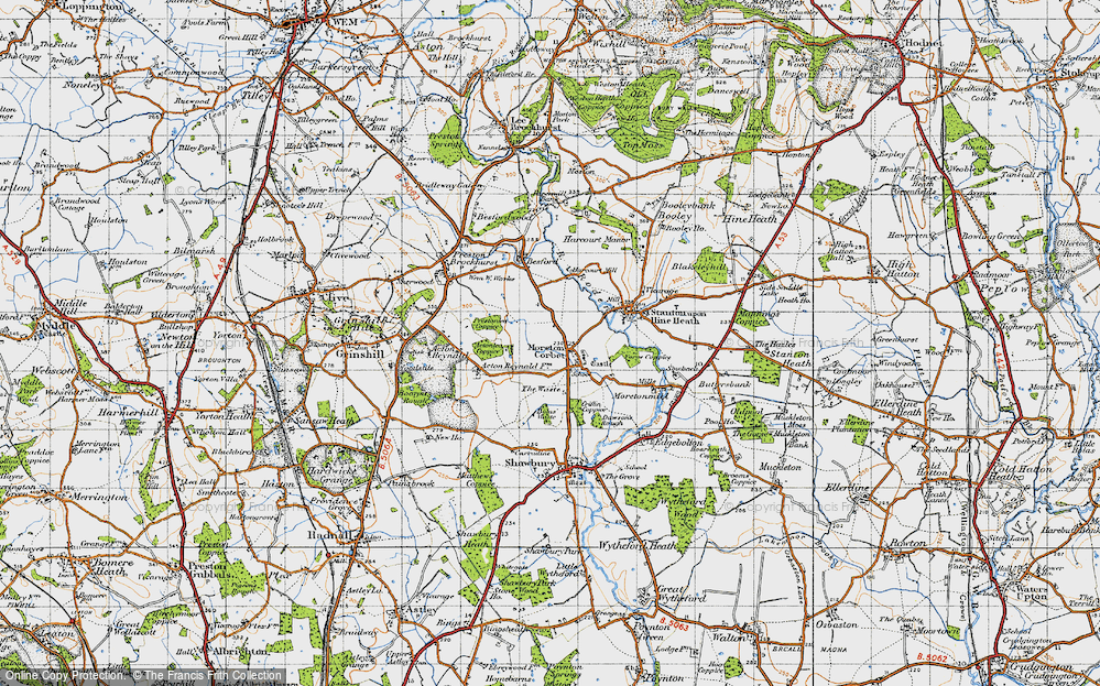 Old Map of Historic Map covering Acton Lea in 1947