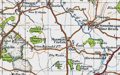 Old map of Moreton Corbet in 1947