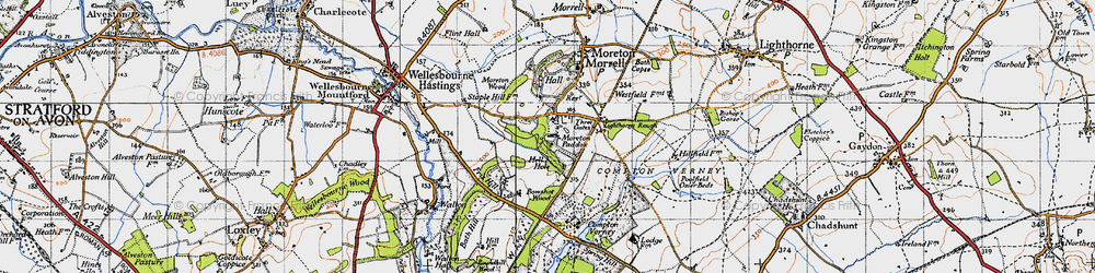 Old map of Moreton Paddox in 1946