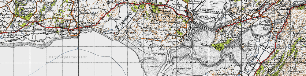 Old map of Morfa Bychan in 1947