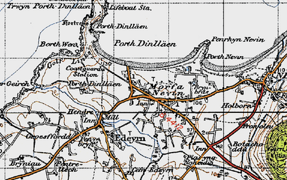 Old map of Porth Dinllaen in 1947