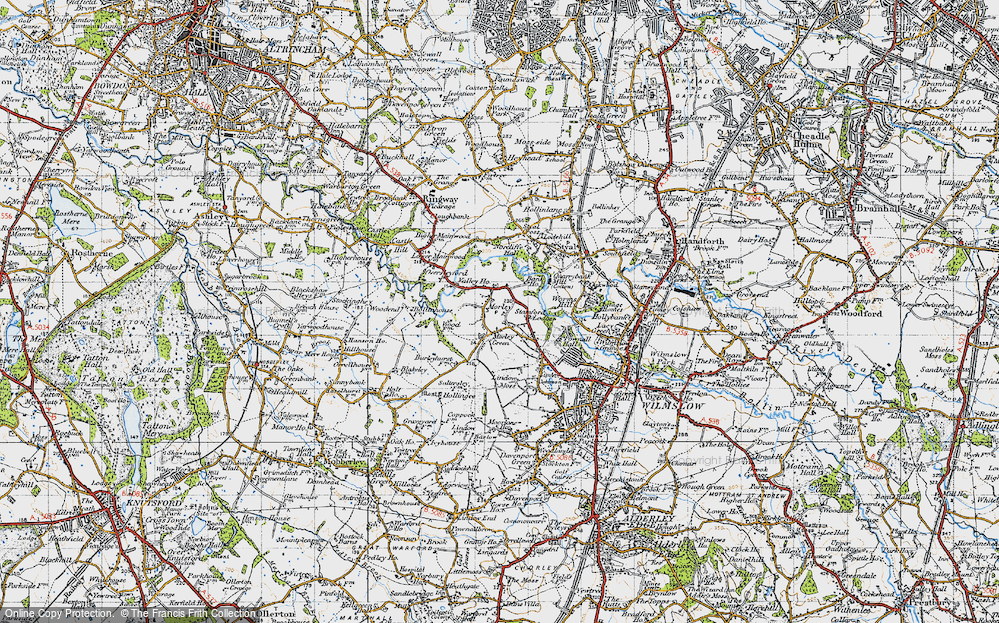 Old Map of Historic Map covering Lindow Moss in 1947