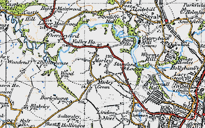 Old map of Lindow Moss in 1947