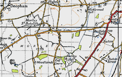 Old map of Wymondham College in 1946