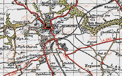Old map of Morpeth in 1947