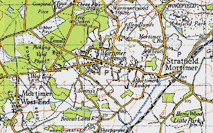 Old map of Mortimer in 1945