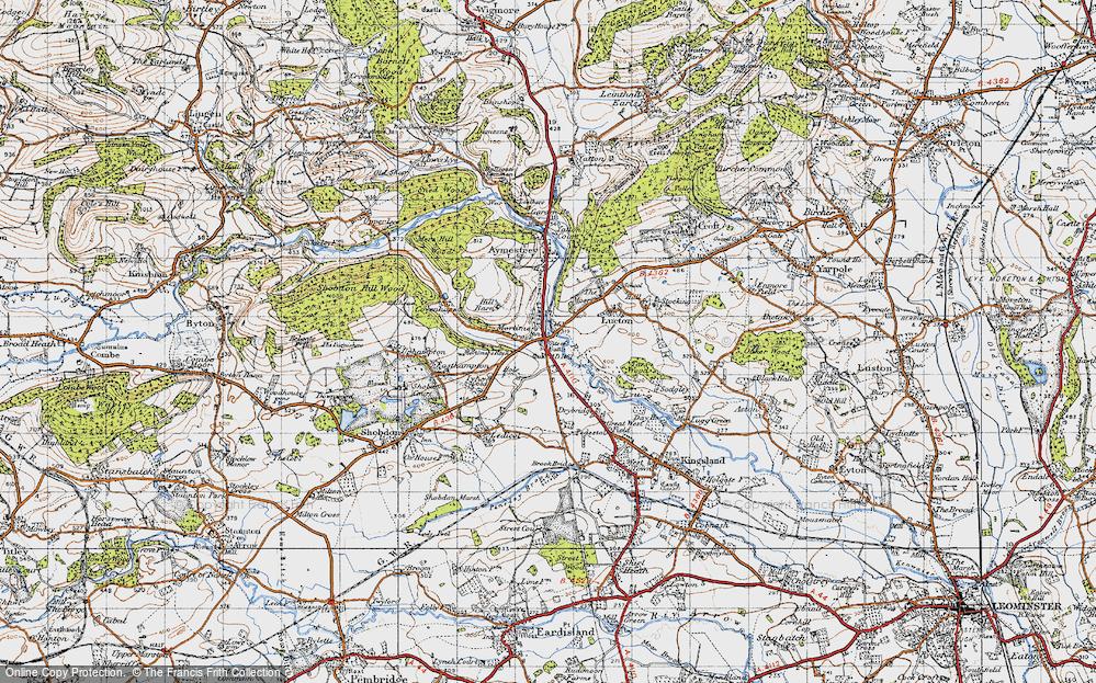 Old Map of Mortimer's Cross, 1947 in 1947