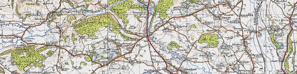 Old map of Mortimer's Cross in 1947