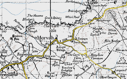 Old map of Morvah in 1946