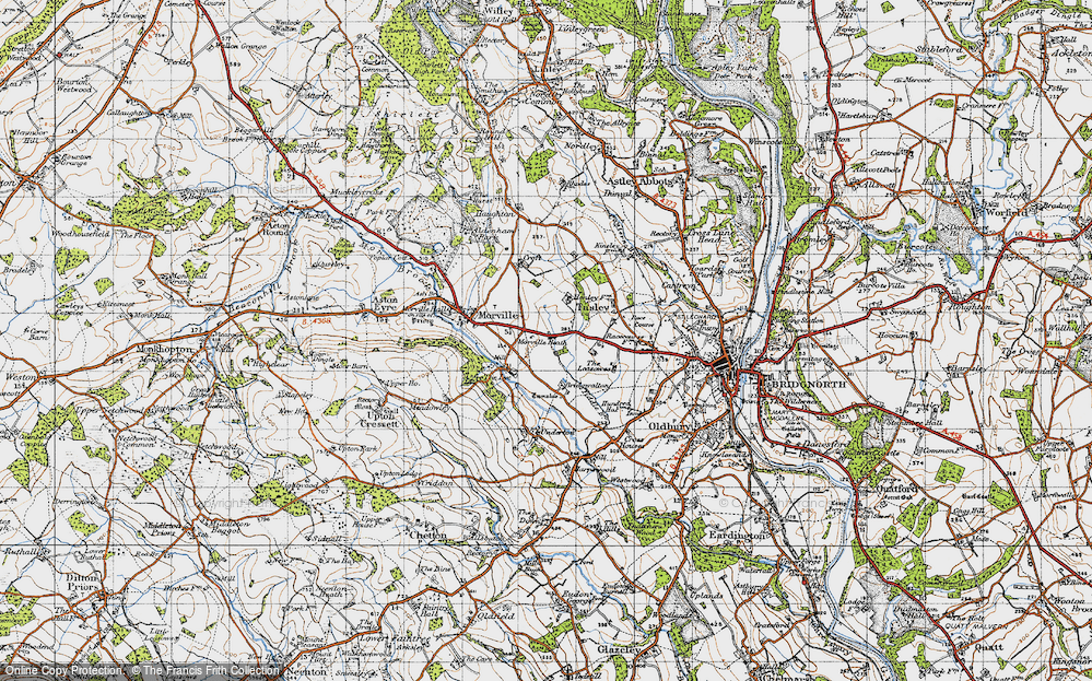 Old Map of Historic Map covering Tiddle Brook in 1947