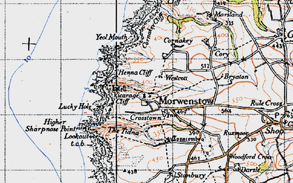 Old map of Morwenstow in 1946