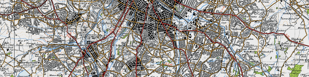 Old map of Moseley in 1947