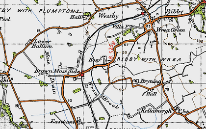 Old map of Wrea Brook in 1947