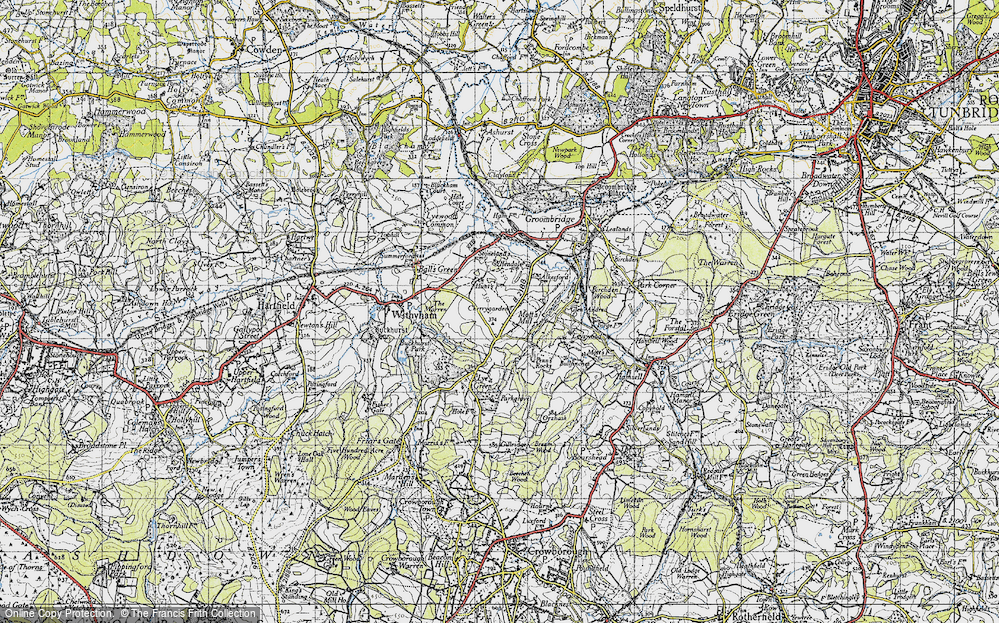 Old Map of Historic Map covering Leyswood in 1946