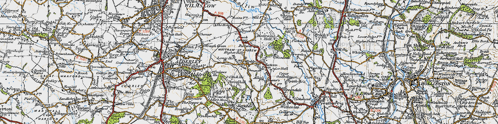 Old map of Adder's Moss in 1947