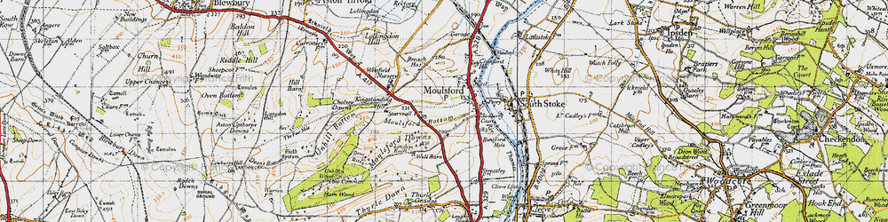 Old map of Moulsford in 1947