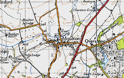 Old map of Moulton in 1946