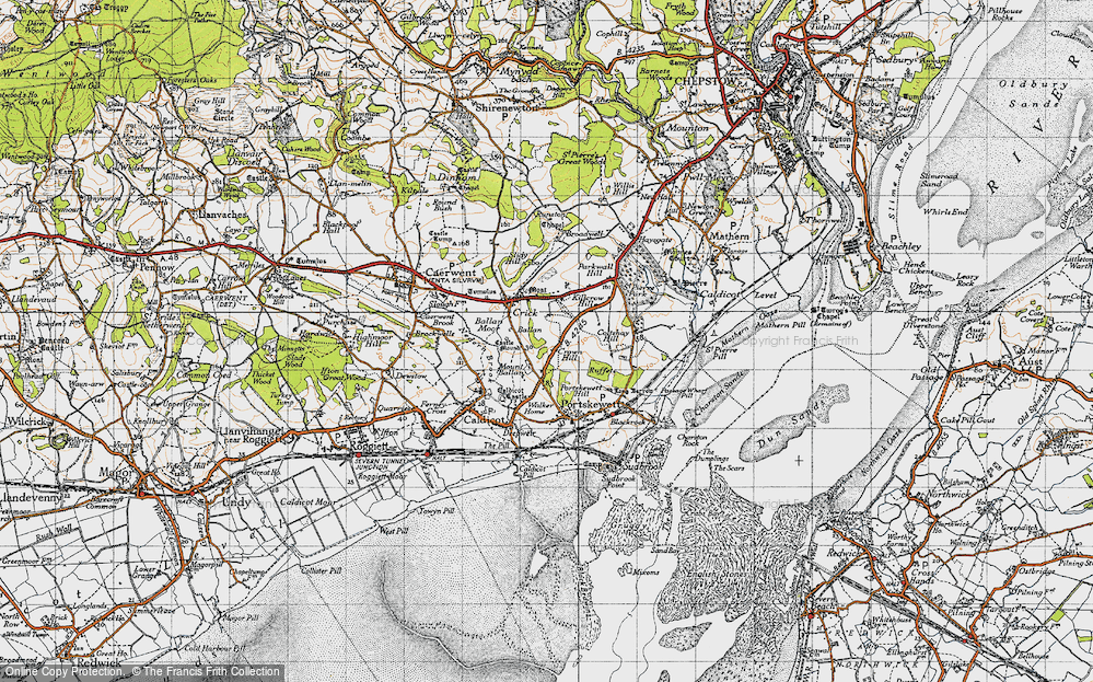 Old Map of Historic Map covering Ballan Moor in 1946