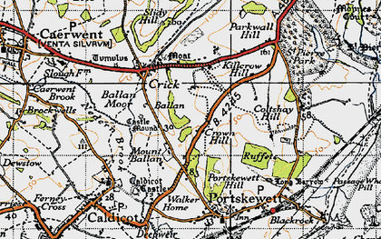 Old map of Ballan Moor in 1946