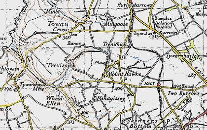 Old map of Mount Hawke in 1946