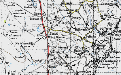 Old map of Mount Hermon in 1946