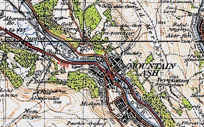 Old map of Mountain Ash in 1947