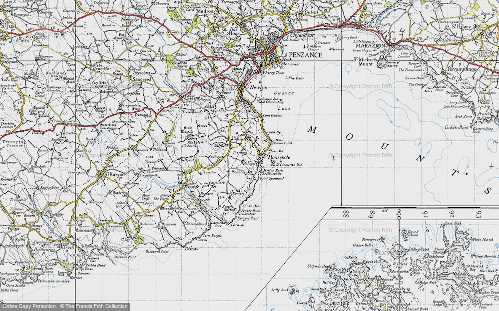 Old Map of Mousehole, 1946 in 1946