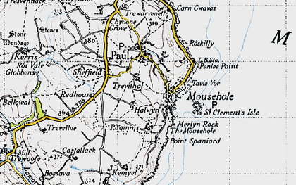 Old map of Mousehole in 1946