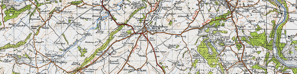 Old map of Much Wenlock in 1947