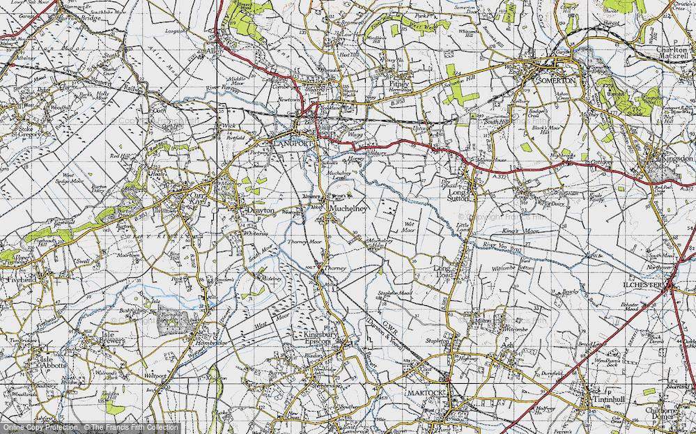 Old Map of Muchelney, 1945 in 1945