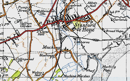 Old map of Mucking in 1946