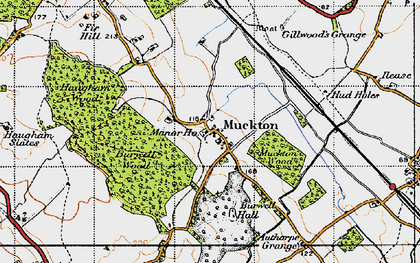 Old map of Authorpe Grange in 1946