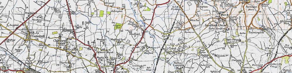 Old map of Mudford in 1945