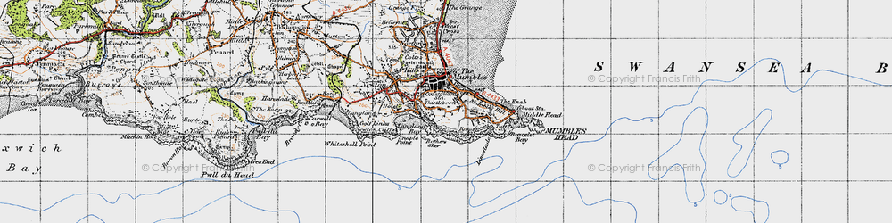 Old map of Mumbles, The in 1947