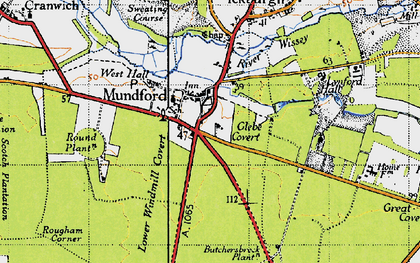 Old map of Mundford in 1946