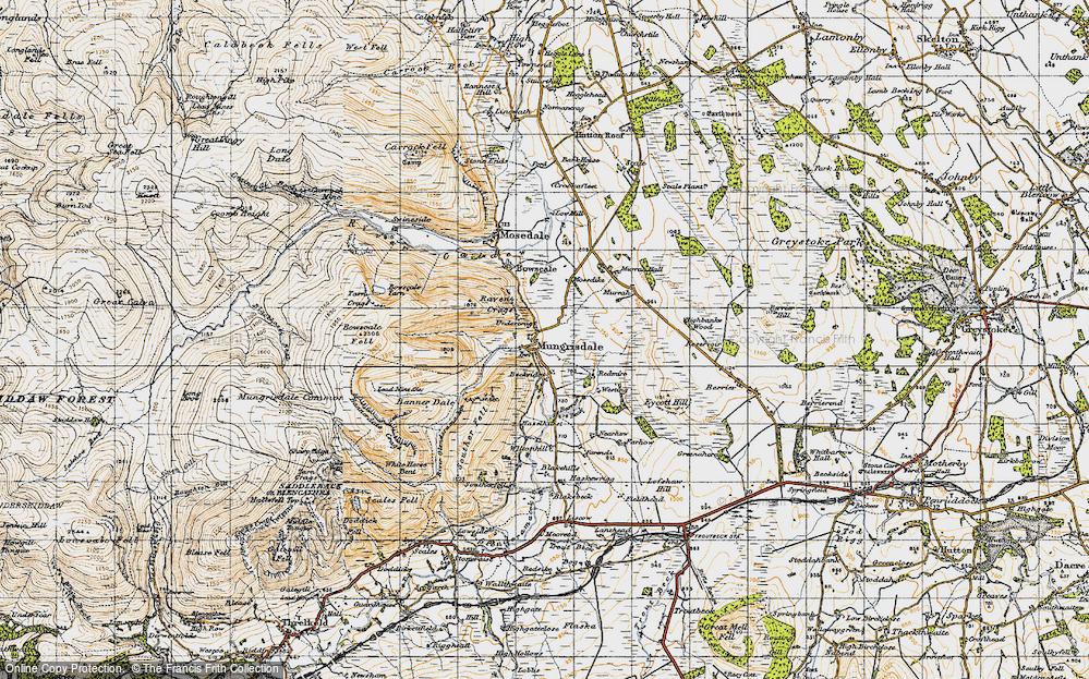 Old Map of Historic Map covering Bannerdale in 1947