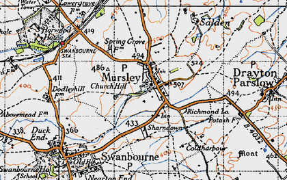 Old map of Mursley in 1946