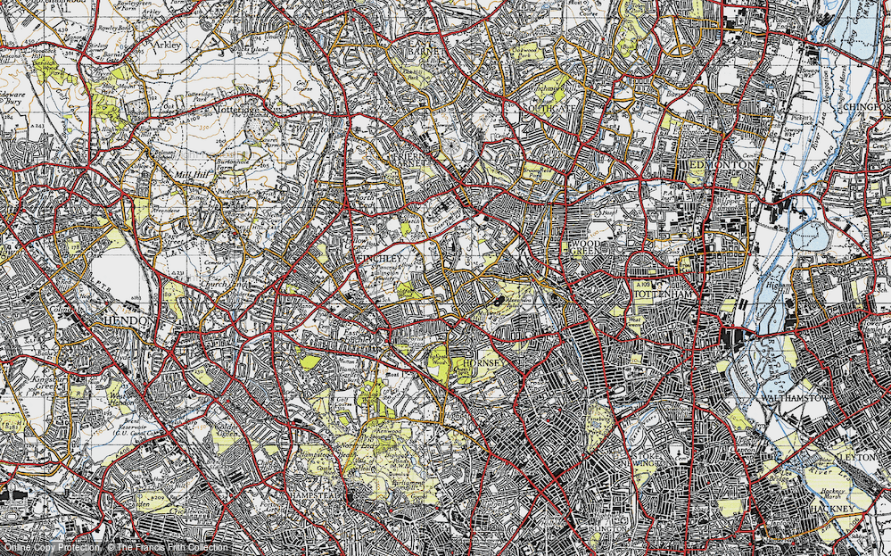 Old Map of Historic Map covering Alexandra Palace in 1945