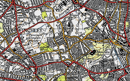 Old map of Alexandra Palace in 1945