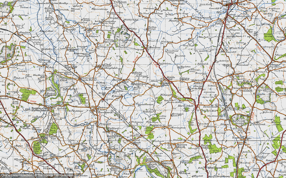Old Map of Historic Map covering Leasows, The in 1947