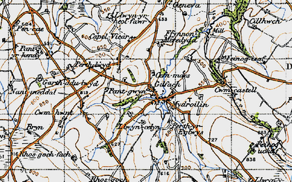 Old map of Afon Mydr in 1947