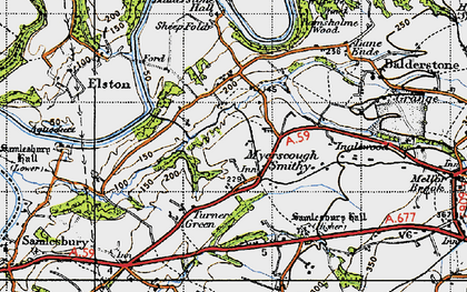 Old map of Balderstone Hall in 1947