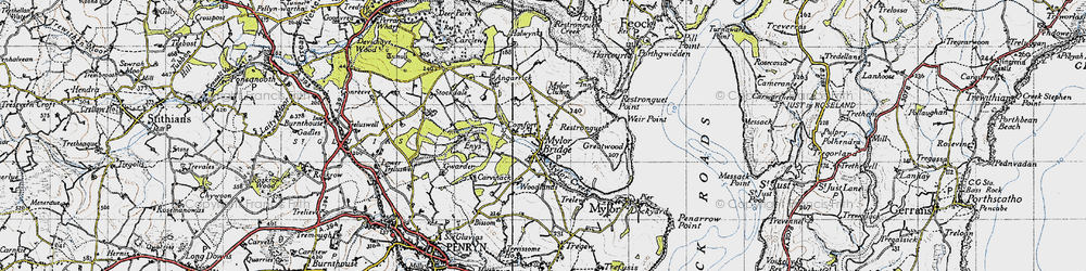 Old map of Mylor Bridge in 1946