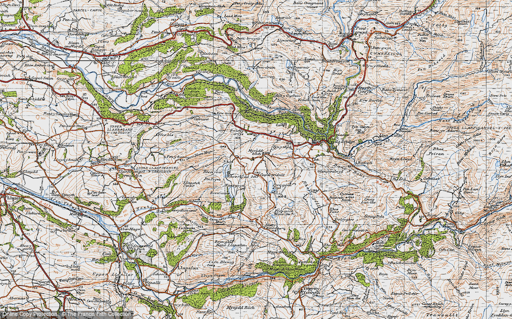 Old Map of Historic Map covering Banc Blaen Magwr in 1947