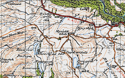 Old map of Banc Blaen Magwr in 1947