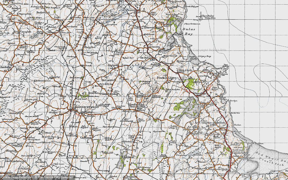 Old Map of Historic Map covering Afon Lligwy in 1947