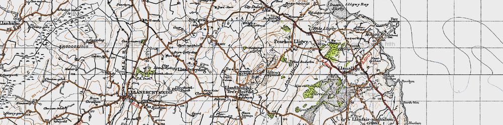 Old map of Afon Lligwy in 1947