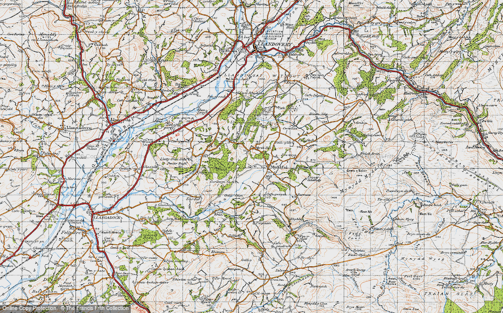 Old Map of Historic Map covering Afon Ydw in 1947