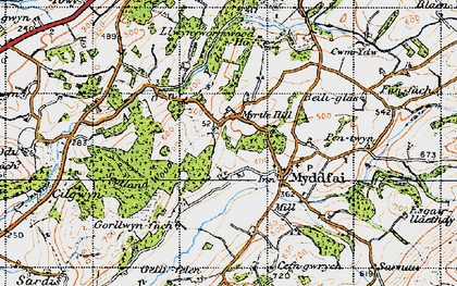 Old map of Afon Ydw in 1947
