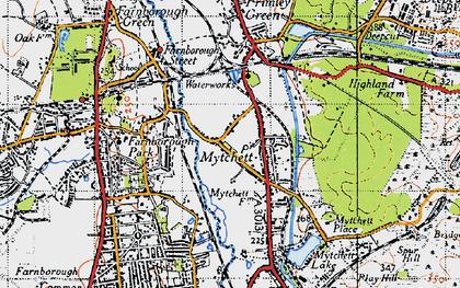 Old map of Mytchett in 1940
